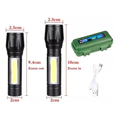 Mini Lanterna Tática Led Lampião Recarregável com Zoom